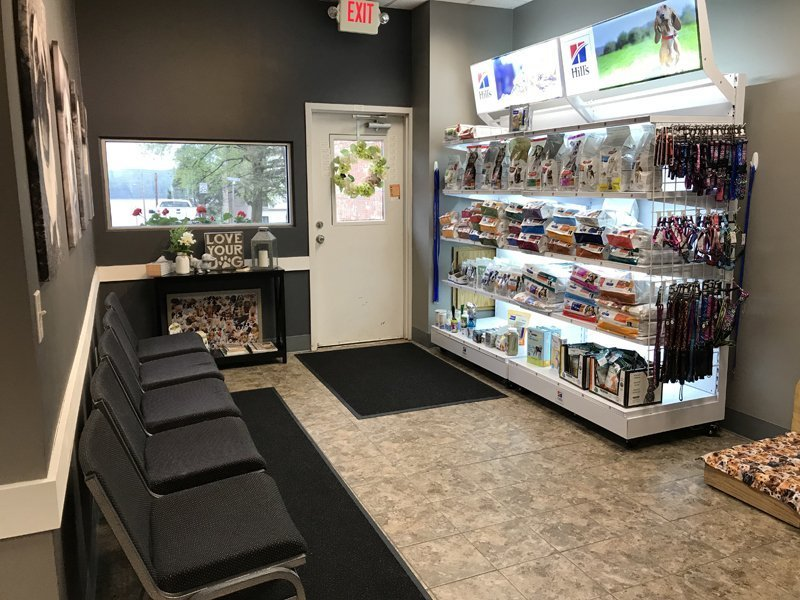 The waiting area and product display in the front of the clinic