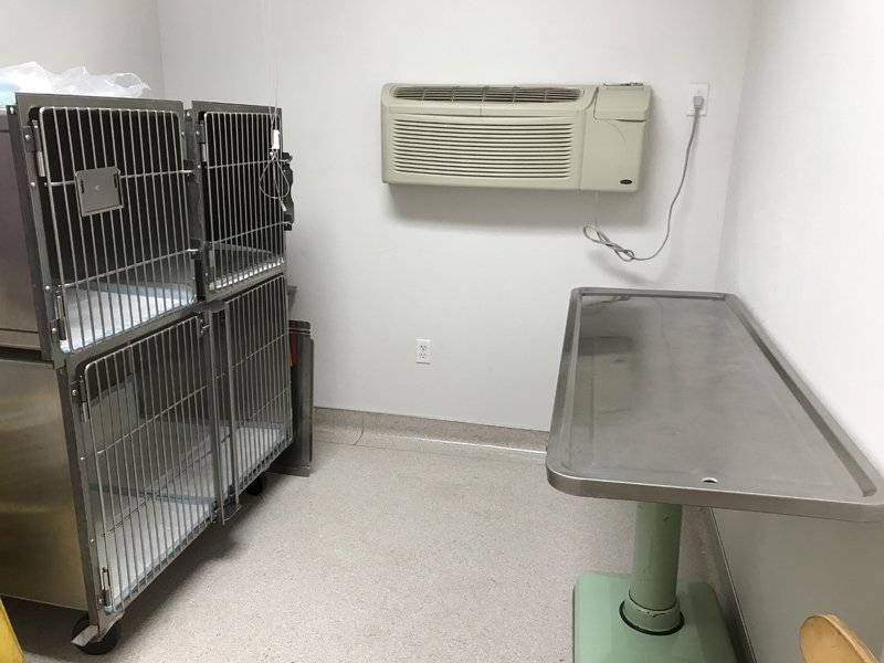 One of the exam rooms which also houses kennels